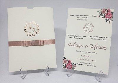 Convite casamento marfim rose hotstamping