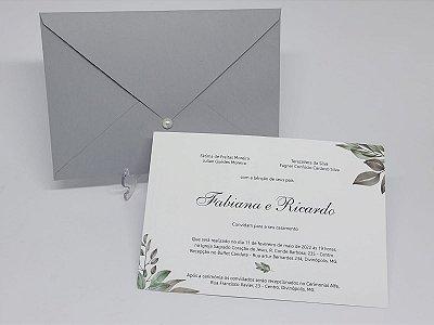 Convite casamento cinza folhagens