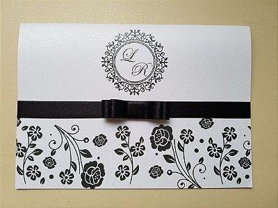 Convite casamento preto branco oferta