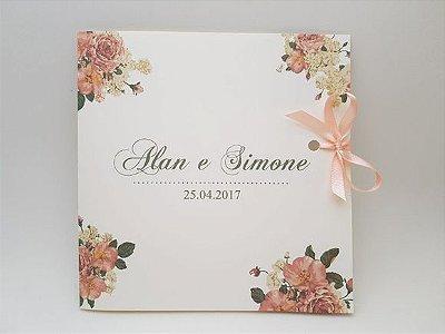 Convite de casamento floral rosa