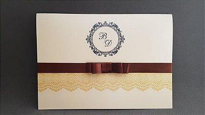 Convite casamento dourado com renda desenhada