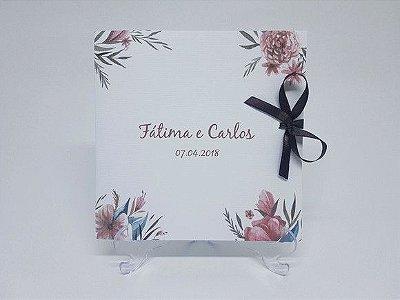 Convite casamento moderno floral