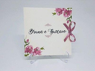 Convite de casamento rosa floral suave