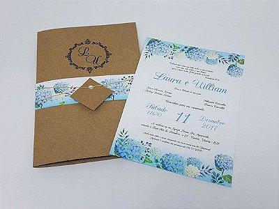 Convite casamento floral Hortência