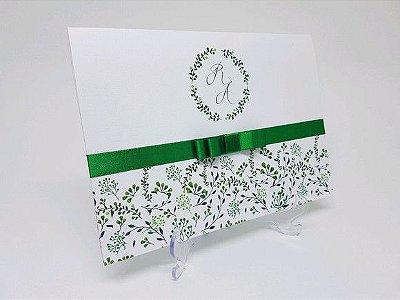 Convite casamento verde floral