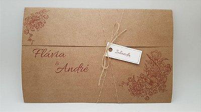 Convite de casamento kraft floral rustic