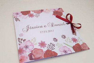 Convite casamento rosas vermelha floral