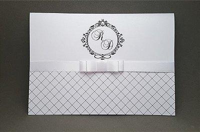Convite de casamento branco PEROLADO