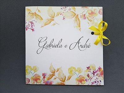 Convite casamento floral moderno barato