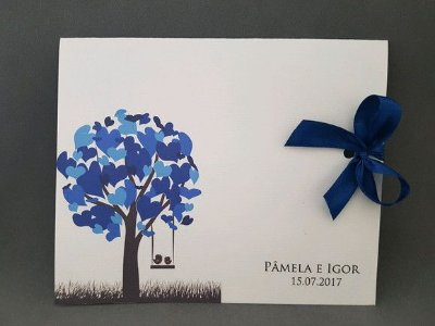 Convite de casamento árvore azul