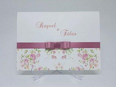 Convite de casamento classico rose