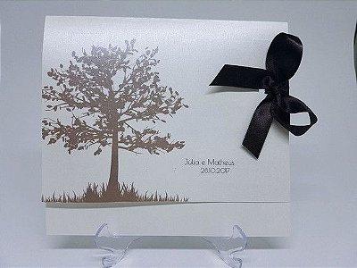 Convite casamento árvore metalizado