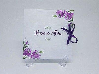 Convite casamento floral lilás e roxo