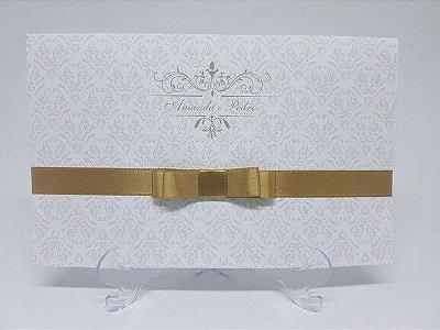 Convite casamento 2 folhas dourado