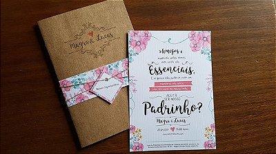 Convite casamento rustico floral moderno