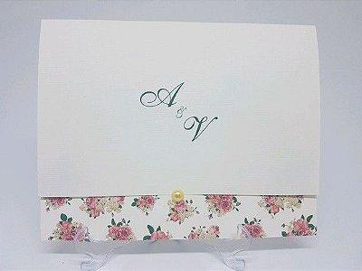 Convite de casamento floral barato