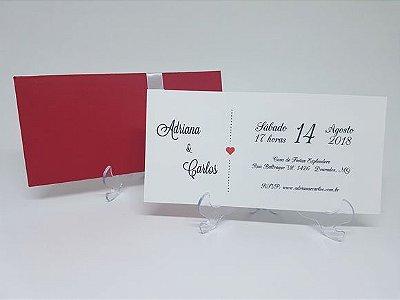Convite para casamento com envelope luva