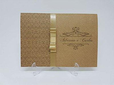 Convite casamento dourado rustico