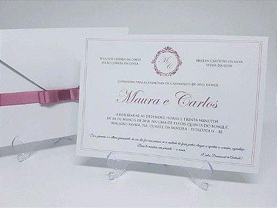 Convite branco e rosa