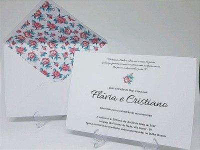 Convite de casamento com envelope floral