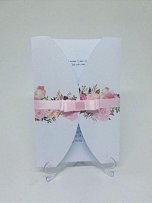 Convite casamento rosas envelope