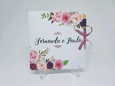 Convite casamento floral rose