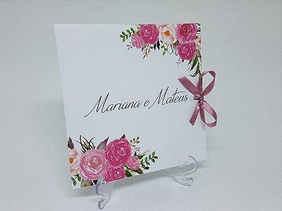 Convite bouquet de rosas