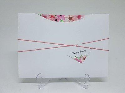 Convite de casamento rosa floral