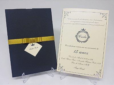 Convite 15 anos realeza dourado e preto