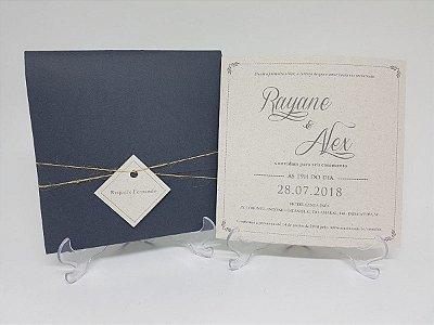Convite de casamento prata e reciclado