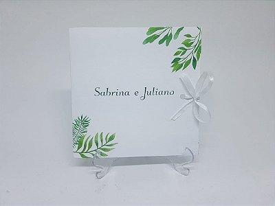 Convite para casamento folhas verdes