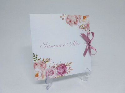 Convite de casamento rose floral