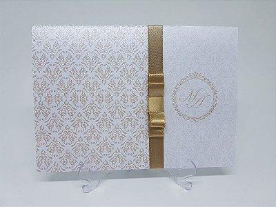 Convite casamento classico dourado