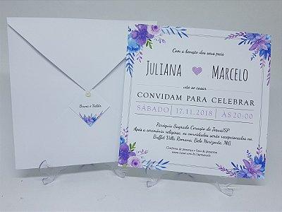 Convite casamento violeta floral