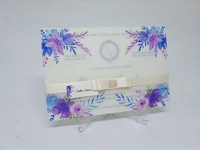 Convite casamento papel vegetal lilás