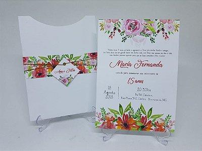 Convite debutante colorido flores alegres