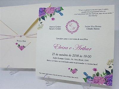Convite casamento hortensias