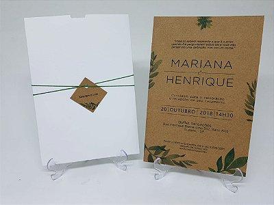 Convite casamento folhas luva