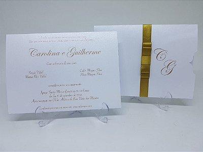 Convite casamento clássico metalizado