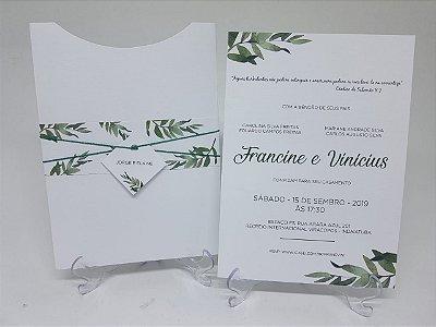 Convite casamento Folhagens e folhas