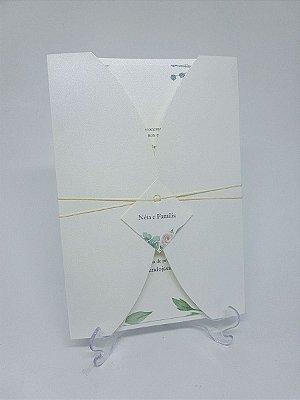 Convite casamento metalizado floral