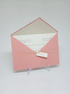 Convite casamento Rosê com envelope