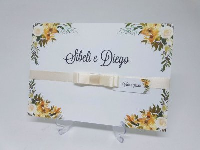 Convite casamento flores amarelas