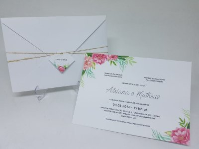 Convite casamento classico floral