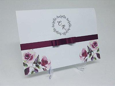 Convite casamento marsala floral