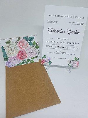 Convite envelope forrado floral