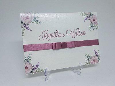 Convite floral rosa