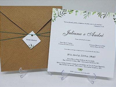 Convite rustico folhas