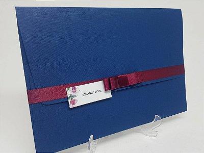 Convite azul e marsala