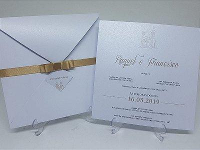 Convite metalizado dourado e branco